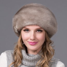 Wholesale genuine mink hat - Wholesale-2016 quality real fur mink hat beret fashion women new luxury good selling genuine  hat fur hat full import DHY-53A