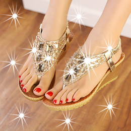 Wholesale Silver Crystal Wedge Shoes - Summer Slipper Flip Flops Shoe Womens Shoes Girl's Casual Beach Shoes Heel 6 cm Ladies Wedge Crystal