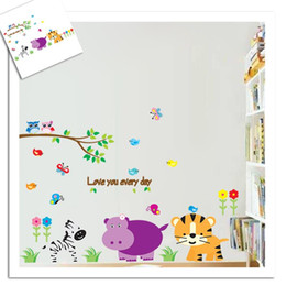 Wholesale Tiger Removable Wall Decorations - zebra tiger animals wall stickers for kids bedroom decorations diy zoo adesivo de paredes pvc home decals mural arts
