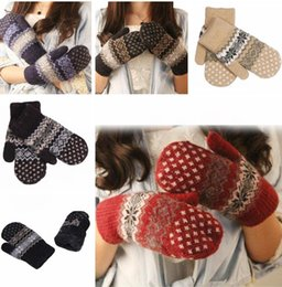 Wholesale Cheap Knitting Wool Wholesale - Womens Christmas Gloves Cashmere Knit Wool Women Girl Snowflake Winter Keep Warmer Mittens Gloves cheap price Xmas gift G119