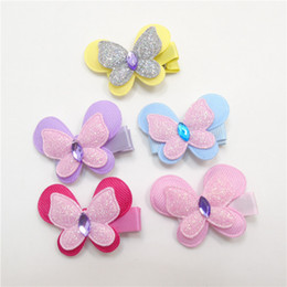 Wholesale Rhinestone Butterfly Hair Clip - 20pcs lot Mini Glitter Butterfly Hair Clip Cute Rhinestone Flying Butterfly Barrette Infant Toddler Girl Animal Cartoon Hairpin