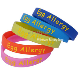 Wholesale Children Allergies - 50PCS Lot Medical Alert! Egg Allergy Kid's Size Silicon Wristband For Children, Great For Daily Reminder