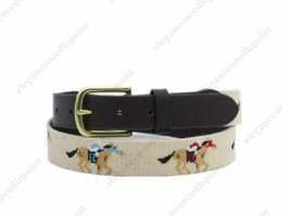 Wholesale Grinding Belts - horse race beige ground Needlepoint cowhide handmade solid brass buckle brown leather woolen yard men adult`s high end leather men`s belts