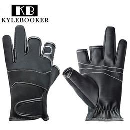 Wholesale Waterproof Hunting Gloves - KyleBooker 3 Cut Finger Anti Slip Fishing Gloves Waterproof Hunting Skidproof Gloves