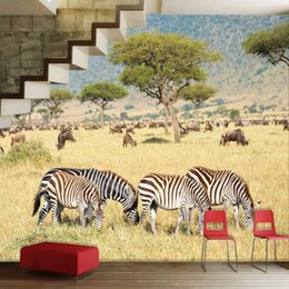 Wholesale Nature Print Paper - Wholesale-Free shipping Africa Plains Zebra Animal Nature Landscapes sofa TV backdrop 3D stereoscopic large mural wallpaper custom size
