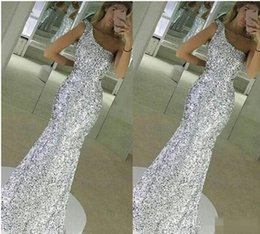 Wholesale One Shoulder Bling Dresses - 2017 New Sparkle Bling Silver Prom Dresses Sequins Lace Long Mermaid Sleeveless One Shoulder Floor Length Formal Evening Dress Party Gowns