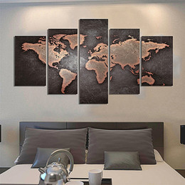 Vintage world map wall art nz buy new vintage world map wall art 5pcs set unframed vintage world map abstract painting wall art oil painting on canvas textured paintings picture living room decor gumiabroncs Gallery