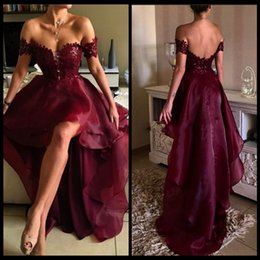 Wholesale Ruffle White Collar Shirt - 2017 Burgundy Prom Dresses Off the Shoulder Appliqued Lace Wine Red High Low Graduation Backless Party Evening Gown vestidos de formatur