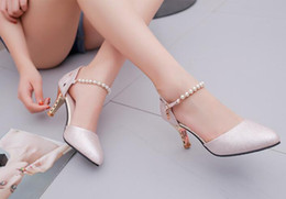 Wholesale Pink Rhinestone Sandals - Fashion new summer sexy high-heeled sandals ladies fine with high heels Korean version of the word with wild summer shoes