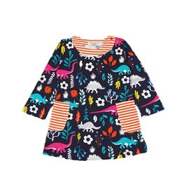 Wholesale Fashion Boutique Color Line - Fashion Party Baby Girls Dress Spring Autumn Long Sleeve Kids Boutique Clothing Dinosaur Print Girls Birtyday Party Dress