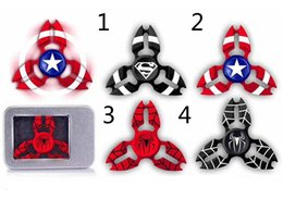 Wholesale Captain America Retail Box - Newest Spider Man Superman Captain America Fidget Hand Spinner Stress Spinner alloy Metal Ball Bearing For ADD ADHD Anxiety With Retail Box