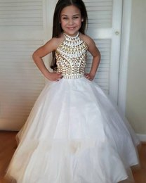 Wholesale Halter Pageant Dresses For Teens - 2017 New Glitz Girls Pageant Dresses Halter Crystal Ball Gown Princess Flower Girls Gowns Wedding Party Wear Dress For Child Teens Custom