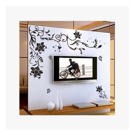 Wholesale Black Flowers Wall Stickers - 9166 Black Flower Vine DIY Vinyl Wall Stickers Home Decor Art 3D Decals House Decoration