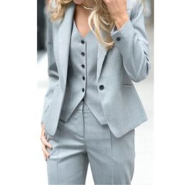 Wholesale Hot Suit Lady - Pantalones Mujer Women Full Cotton Button Fly Ladies Custom Made Office Business Suits Jacket+pants+vest New Hot Tuxedos