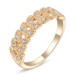 Wholesale Leaf Shaped Gold Plated Rings - Yellow Gold Color Double Rows AAA+ Clear Crystal Paved Leaf Shape Party Wedding Ring for Women Fashion Jewelry Bijoux Hot Gift