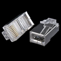 Wholesale Rj45 Cat5e Connectors - Wholesale- 10x Crystal Metal Shield RJ45 Modular Plug RJ-45 8P8C Network Cable Head CAT CAT5E CAT6 Connector #8799