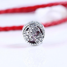 Wholesale Pink 925 Sterling Silver Beads - 2017 Spring Dazzling Daisy Meadow Charms Bead 925 Sterling Silver Pink CZ Flower Beads Fit Bracelets DIY Jewelry Making