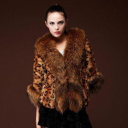 Wholesale Leopard Print Jackets Coats - 2016 new imitation fur coat fox fur striped short leopard print jacket half 1 2 sleeves v neck with fur collar for lady