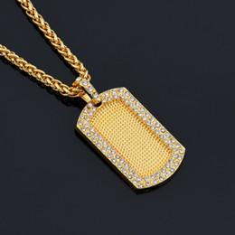 Wholesale Dogtag Pendant - HipHop Crystal Square High Quality Army Dogtag pendants franco long necklaces for men bijouterie NE776