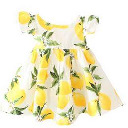 Wholesale Girl Fluffy Sleeve - Flutter Sleeve Dress  floral girl dress  cherry girls dress, fluffy sleeves 3 colors available  lemon  girl summer dress
