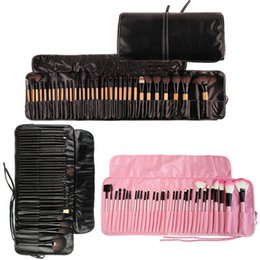 Wholesale Brow Bag - 32pcs Lot Make Up Brush Sets Tools Professional Cosmetics Brushes Eyebrow Eye Brow Powder Lipsticks Shadows Makeup Kit With Bag