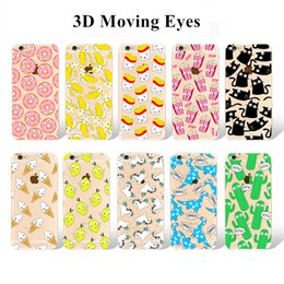 Wholesale Iphone Case 3d Crystals - Cartoon Case For iPhone 7 6s Plus Samsung S7 S6 3D Eyes Phone Case Soft Gel Crystal TPU Cover with 3D Moving Eyes
