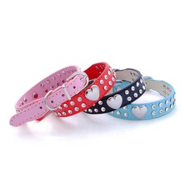 Wholesale Puppy Collars Rhinestones Wholesale - New Hot Sale 2 Row Bling Crystal Rhinestone Heart PU Leather Cat Dog Collar Pet Necklace Puppy Choker Dog Supplies WA1818
