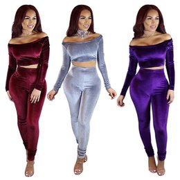 Wholesale Womens Night Set - 2017 Sexy women Night Out Clubwear Corduroy fabric Jumpsuit Womens 2 PCS Set Off The Shoulder Tight Siamese Trousers Evening Party Jumpsuit