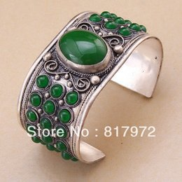 Wholesale Jade Bracelet Carving - Wholesale- Charm Tibet Silver Carved Flower Lace inlay More Bling Green Jade Bead cuff bracelet Adjustable Party Gift &6YB00023