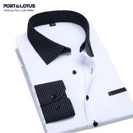 Wholesale Block Shirt - Wholesale- Port&Lotus Contrasted Men Dress Shirts Blocking 095 Long Sleeve Wholesale Turn Down Collar Mens Clothing Camisa Masculina