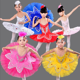 Wholesale Ballet Costumes For Kids - Children's Swan Lake Ballroom Ballet Costume dress Kids Ballet tutu Dancewear Stage Professional Ballet Tutu dancing Dress For Girsl