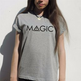 Wholesale Harry Potter Sexy - Wholesale-MAGIC Harry potter t shirt Women deathly hallows Hogwarts Weasley wand T-Shirt Sexy Tees sequin top Tshirt T-F10391
