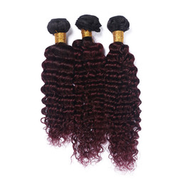 Wholesale Dark Wine Color Hair - Deep Wave Wine Red Ombre Brazilian Human Hair Bundles Dark Root Burgundy 1B 99J Hair Weaves Two Tone Hair Extensions 3Pcs Lot