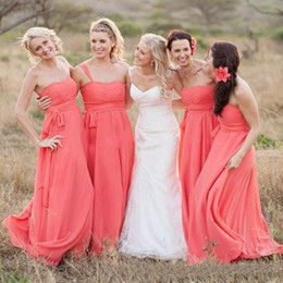 Wholesale Cheap Long Dresses For Weddings - Cheap Coral A Line Country Bridesmaid Dresses Sweetheart Flowy Long Chiffon Bridesmaid Gowns For Young Girls Wedding Guest Dresses 2017 New