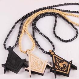 "Wholesale Good Wood Hiphop Wholesale - 4 pcs wood Good Wood Masonic Pendant 36"" Ball Chain Necklace Good quality hiphop bead necklace 3 colors"