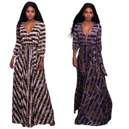 Wholesale Cheap Jerseys Wholesalers - Deep V-Neck Blouson Sleeves Wrap Front Maxi Dress Jersey Resort Wear Patterned for Women   2 Colour   Wholesale Cheap DHL Fast Shipping