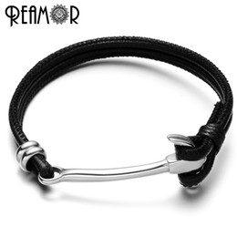Wholesale Bracelet Anchor Bead Connector - REAMOR 316L Stainless Steel Trendy Anchor Connector Charms Bracelets Genuine Braided Double Leather Rope Bracelet Unisex Bangles