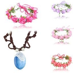 Wholesale Plastic Garland - 2017 Moana Necklace and Flower Headwear baby Princess wreath Halloween Flowers Garland Moana Cosplay Accessories 6 colors C2550