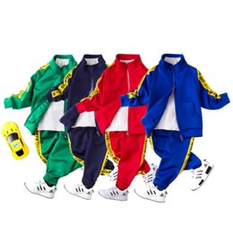 Wholesale Kids Boy Sport Pants - children's sports suits for boys clothing set kids tracksuits boys 2 pcs sets sport jackets and pants kids clothes boys suits
