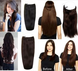 Wholesale Halo Sales - Hot Sale Brazilian Human Hair No Clips Halo Flip in Hair Extensions, 20inch 1pc 100G Easy Fish Line Hair Weaving Wholesale Price