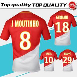 Wholesale Hot Sale Short - Monaco home Soccer Jersey 17 18 Monaco red white Soccer Shirt 2018 Customized #29 MBAPPE #9 FALCAO football uniform Hot Sales