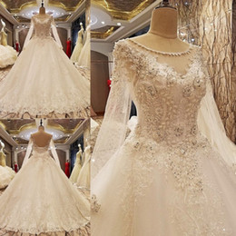 Wholesale Actual Tulle Ball - Actual Image Long Sleeves Lace Wedding Dresses 2017 Vintage Ivory Appliques Beaded See Though Tulle Puffy Princess Bridal Dresses
