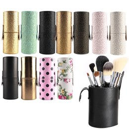 Wholesale Empty Leather Box - Wholesale-Travel Leather Makeup Brush Pen Storage Empty Holder Cosmetic Cup Case Box free shipping many colors
