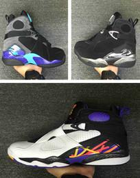 Wholesale Aqua Basketball Shoes - Drop shipping High Quality Retro 8 Men Basketball Shoes Retro VIII Aqua retro 8 Men Sports Boots US Size 7-13