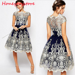 Wholesale Floral Embroidery Short Prom Dresses - 2017 Retro Women Vintage Prom Short Sleeve Mesh Embroidery Long Party Dress elegant vintage dresses for women