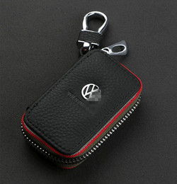 Wholesale Leather Case For Car Remote - Car Key Case Premium Leather Chains with Holder Zipper Remote Wallet Bag cover accessories for Volkswagen(VW)