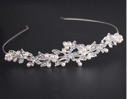 Wholesale Beaded Wedding Headpiece - New Fashion Vintage Wedding Bridal Crystal Rhinestone Pearl Beaded Hair Accessories Headband Band Crown Tiara Ribbon Headpiece Jewelry Set