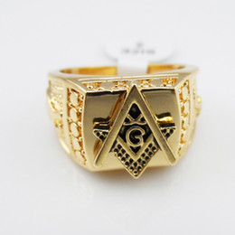 Wholesale Rings Hipsters - Popular Hip-Hop Masonic men's Rings Carved Geometric Hipsters 24K gold Plated Rings For Men s Hip Hop Jewelry Top Grade