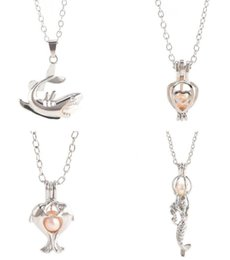 Wholesale Shark Chain - Love Wish Pearl Cages Locket Necklace Freshwater Pearls Oyster Pendant Necklace(Excluding Pearl Canned) Shark Mermaid Pendant Necklace