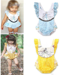 Wholesale Wholesale Onesie - Lace Girls Romper Summer Printed Ruffle Baby Onesie Sweet Printed Toddler Jumpsuit INS Babies Clothes Lace Infant Bodysuit
